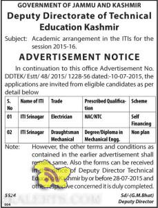 Academic arrangement in the ITIs for the session 2015-16 Srinagar, Government Jobs in srinagar, Teaching jobs in Srinagar, Academic Arrangement Srinagar,