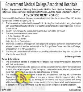Engagement of Nursing Tutors under NHM in Govt. Medical College, Srinagar, jobs in NHM, Jobs in Nursing tutors in NHM, JObs in srinagar, jobs in J&K
