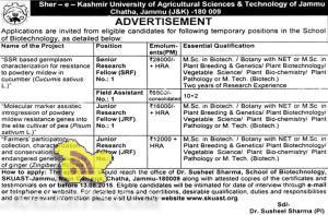 SRF, JRF, Field Assistant Jobs in SKUAST JAMMU, Govt jobs in Jammu and kashmir, Jobs in Skuast jammu,