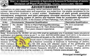 SRF jobs inSher - e - Kashmir University of Agricultural Sciences & Technology of Jammu