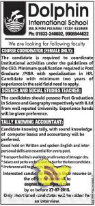 Teaching and Non teaching Jobs in Dolphin International School