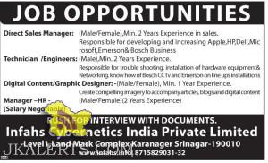Direct Sales Manager, Technician /Engineer, Graphic Designer, private jobs in Srinagar, Jobs in J&K