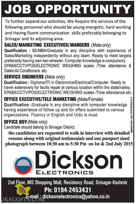 SALES/MARKETING EXECUTIVES/MANGERS , SERVICE ENGINEER, OFFICE EXECUTIVE/TELE MARKETING JOBS IN SRINAGAR, PRIVATE JOBS IN SRINAGAR, PART TIME JOBS IN SRG