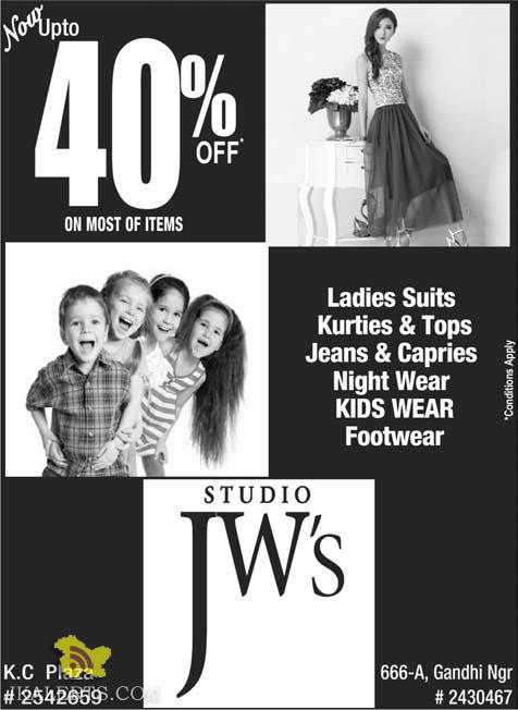 Sale upto 40% in JW's Studio on ladies Suits Kurties & Tops Jeans, KIDS WEAR Footwear