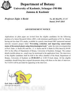 Junior Research Fellow (JRF) Jobs in University of kashmir, Jobs in srinagar, Govt jobs in J&K, Jobs for graduates,