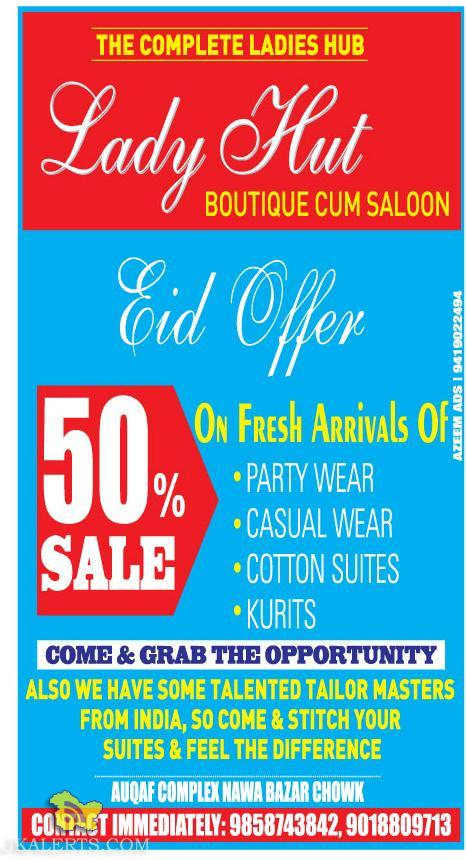 Latest Eid offer in Lady hut, sale on ladies suits