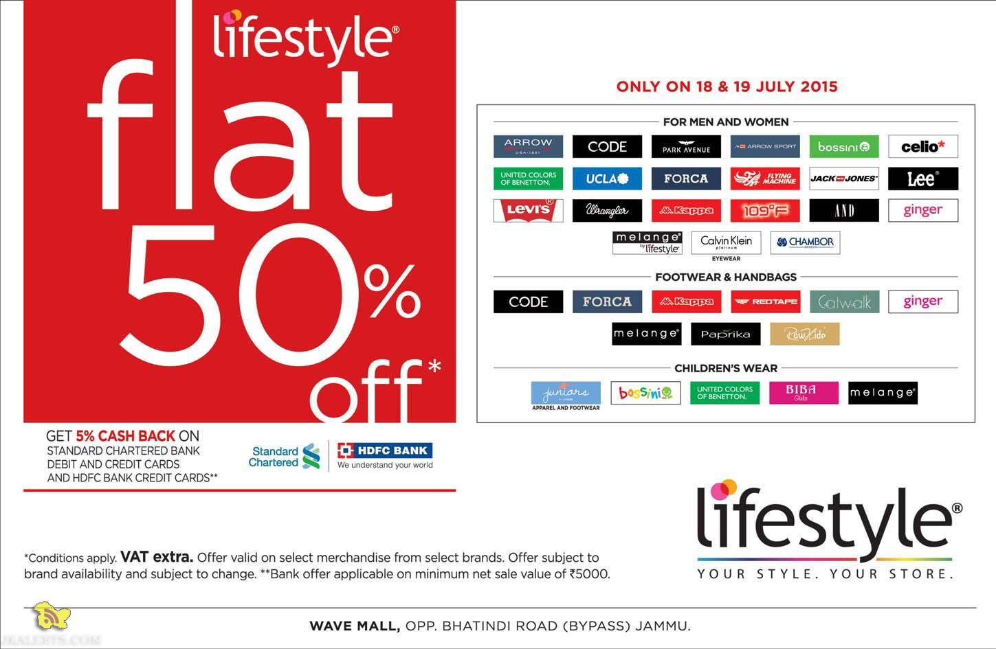 Sale on lifestyle Flat 50% off Sale in wave mall. Sale on Garments,
