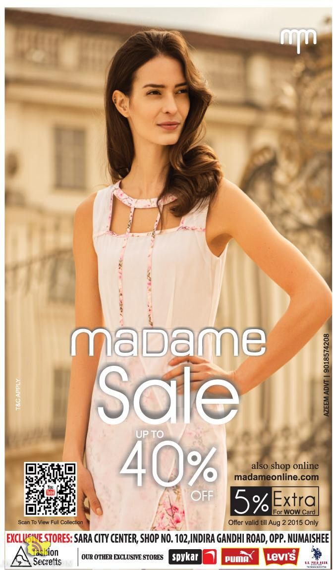 Madame Sale Upto 40% in Sara City Center Srinagar, Sale on Ladies Garments, Sale on Ladies Branded Showrooms, Sale in Srinagar on cloths