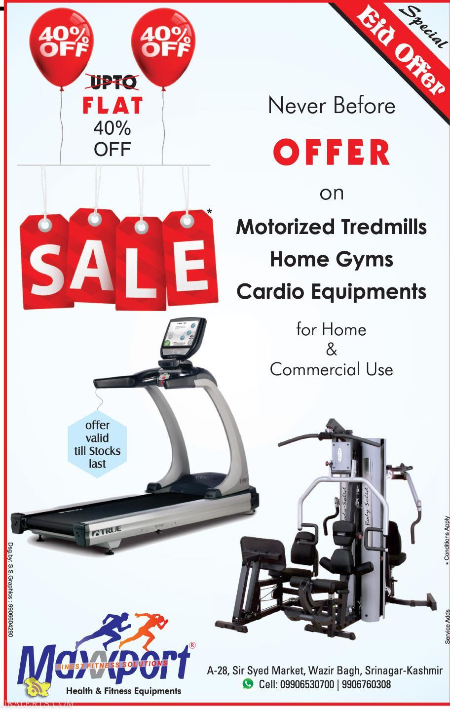 Offer on Gym Equipment , for home and commercial use