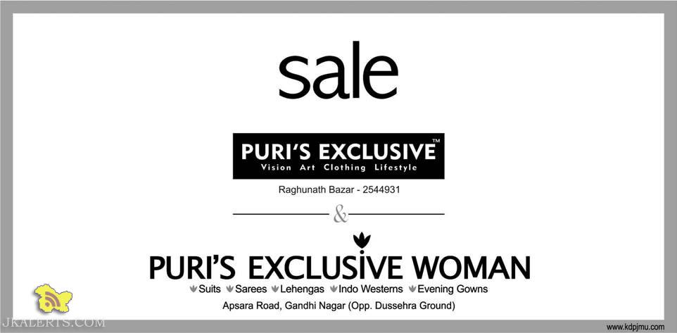 Sale in PURI'S EXCLUSIVE on Suits , Sarees , Lehengas ,lndo Westerns , Evening Gowns