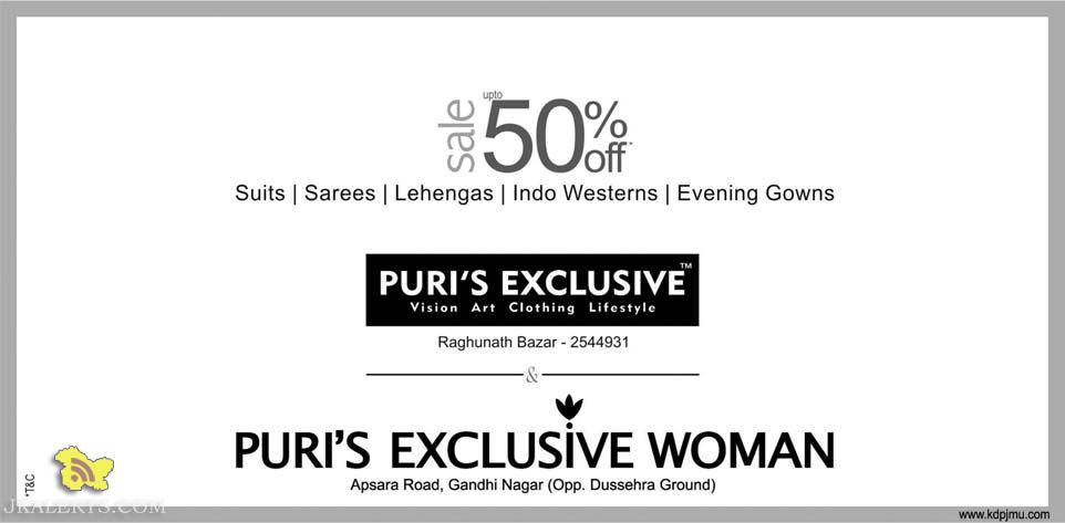 Sale on Suits, Sarees, Lehengas , Indo Westerns , Evening Gowns PURI'S EXCLUSIVE