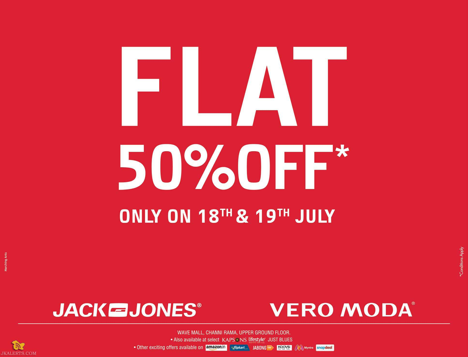Sale on Jack and Jones Vero Moda, Flat 50% off in wave mall, lifestyle , Justblues