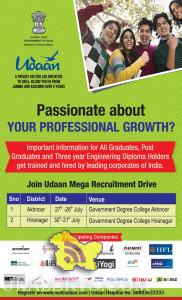 Join Udaan Mega Recruitment Drive, Akhnoor and Hirannagar Jammu , Private Jobs in J&K, udaan Project, Latest Udaan recruitment drive, New jobs through Udaan