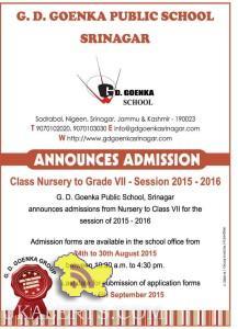 Admission open in G. D. Goenka Public School, Srinagar 2015-16
