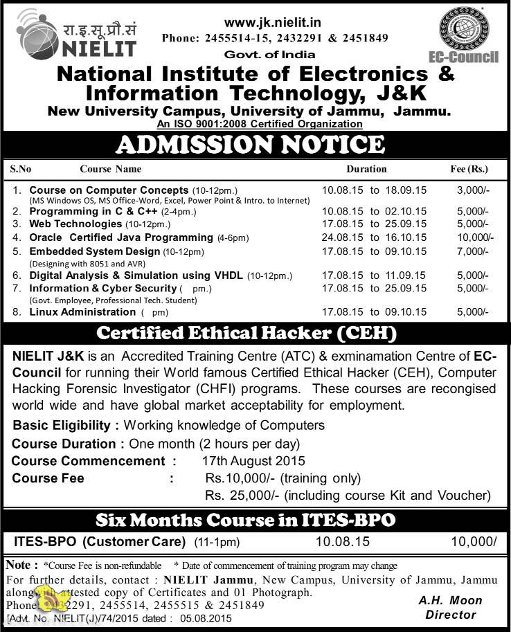 Admission open National Institute of Electronics & Information Technology, J&K