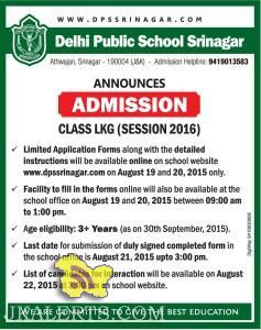 Admission opens in Delhi Public School Srinagar