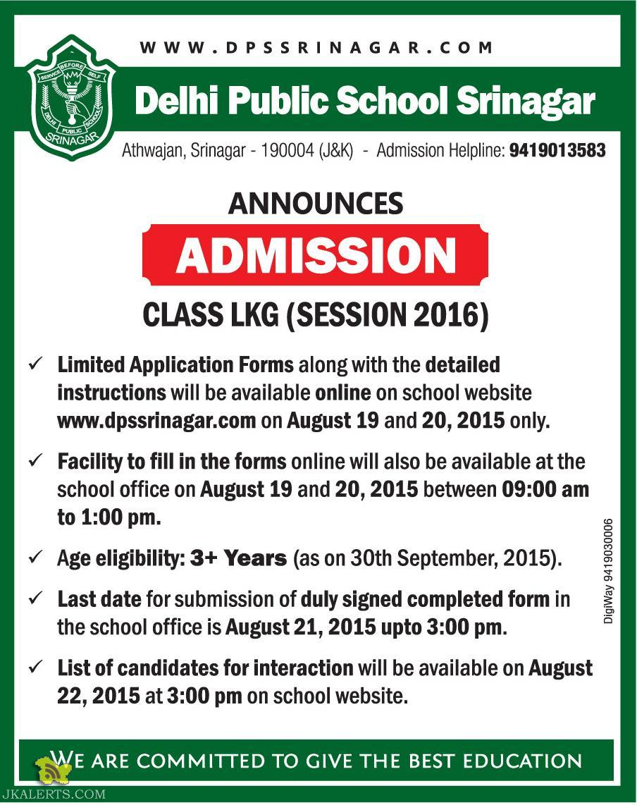 Admission opens in Delhi Public School Srinagar