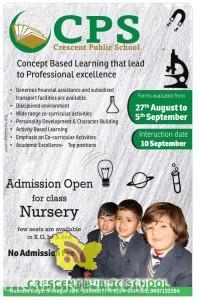 Admission open in crescent public school srinagar