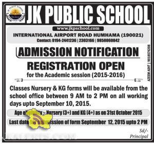 Admission open in JK Public School Srinagar