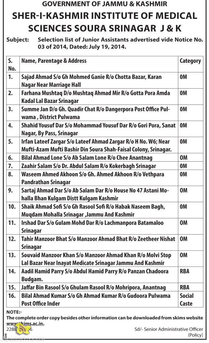 Selection list of Junior Assistants in SKIMS SOURA