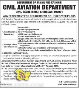 Jobs in CIVIL AVIATION DEPARTMENT, RECRUITMENT OF HELICOPTER PILOTS