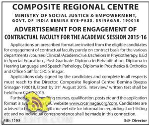 COMPOSITE REGIONAL CENTRE ENGAGEMENT OF FACULTY FOR 2015-16