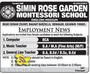 Teaching jobs in SIMIN ROSE GARDEN MONTESSORI SCHOOL