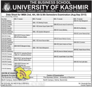 Date Sheet for IMBA 2nd, 4th, 6th & 8th Semesters Kashmir University