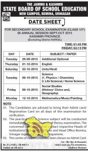 JKBOSE DATE SHEET FOR CLASS 10th BI-ANNUAL SEPT-OCT 2015 KASHMIR, Class 10th datesheet for Kashmir division, Jkbose class 10th private datesheet