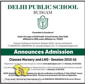 Admission open in DELHI PUBLIC SCHOOL, Classes Nursery and LKG 2015