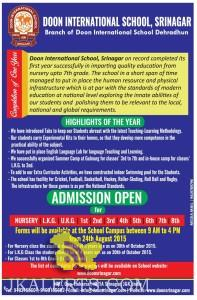 Admission open in DOON INTERNATIONAL SCHOOL, SRINAGAR