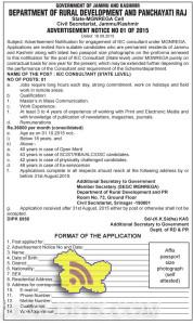 IEC CONSULTANT (STATE LEVEL) JOBS IN RURAL DEVELOPMENT AND PANCHAYATI RAJ