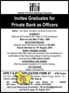 JOBS IN PRIVATES BANKS , ICICI Bank, Yes Bank, Axis Bank & many more.