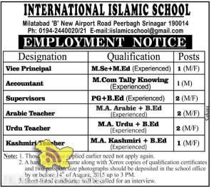 Vice Principal, Accountant, Supervisors, Teachers Jobs in INTERNATIONAL ISLAMIC SCHOOL