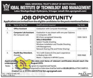 Office Assistant, Computer Lab Assistant jobs in IQBAL INSTITUTE OF TECHNOLOGY AND MANAGEMENT