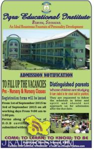 Admission open in Iqra Educational Institute Srinagar