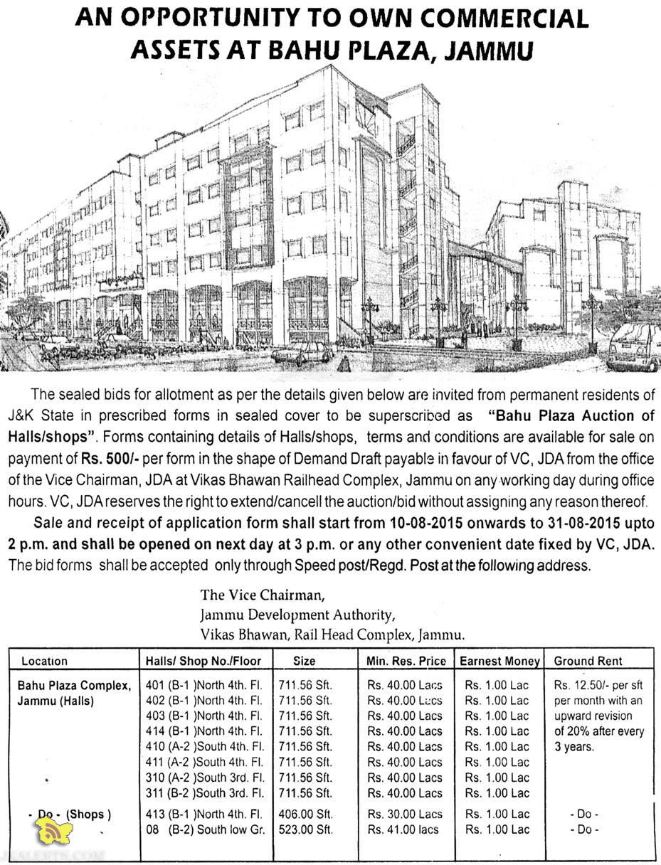 JDA allotment of Halls, Shops and Floor in Bahu plaza Jammu