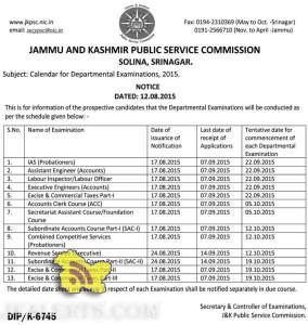 JKPSC Calendar for Departmental Examinations, 2015