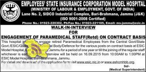 JOBS IN ESIC HOSPITAL, WALK-IN-INTERVIEW FOR PARAMEDICAL STAFF