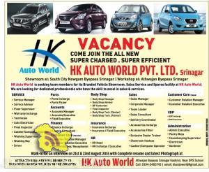 JOBS IN HK AUTO WORLD PVT LTD srinagar