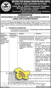 RECRUITMENT OF PARAMEDICAL AND NURSING STAFF IN ESIC