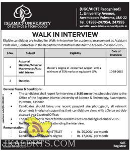 WALK IN INTERVIEW IN ISLAMIC UNIVERSITY FOR ASSISTANT PROFESSORS, Jobs in Islamic university, Assistant prof jobs in srinagar, Jobs in srinagar