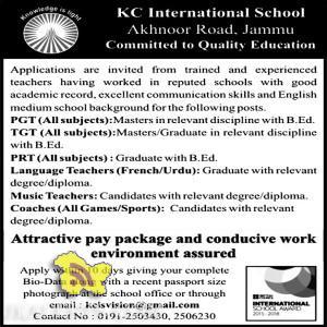 Teaching Jobs in KC International School, PGT, PRT Language and Music Teacher jobs in KC International school, Private jobs in Jammu, jobs in schools