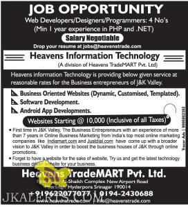 Web Developers, Designers,Programmers jobs Heavens Information Technology