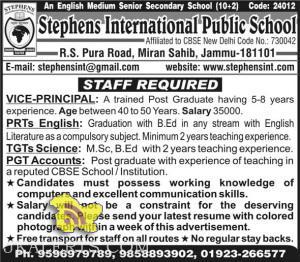 JOBS IN STEPHEN INTERNATIONAL SCHOOL, Teaching jobs in Jammu, teaching jobs in Jammu and Kashmir, jobs in schools , jobs for graduates, jobs private school