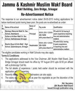 Principal and headmaster jobs in Jammu & Kashmir Muslim Wakf
