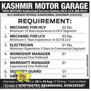 Jobs in KASHMIR MOTOR GARAGE TATA MOTORS
