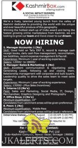 Jobs In Kashmir Box Manager Accounts, Sales & Marketing, Private jobs in Srinagar