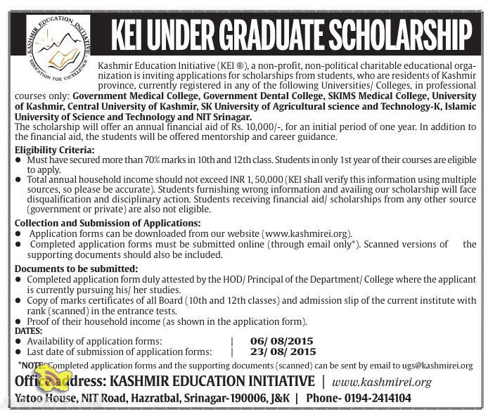 Kashmir Education Initiative KEI GRADUATE SCHOLARSHOP 2015