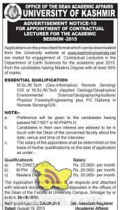 Lecturer Jobs in University of Kashmir for Academic Session 2015